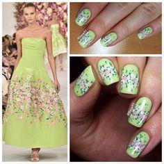 Day 4 of #nafw2015 Floral nails inspired by Oscar de la renta (@oscarprgirl) by @lieve91