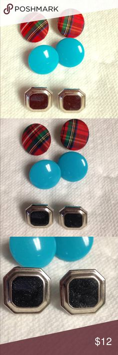 3 vintage stud earrings holiday earrings The set of three vintage earrings is in good used condition. The plaid ones are perfect Christmas earrings. Please see photos. Please ask any questions before purchasing. Jewelry Earrings
