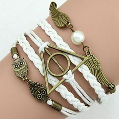 Cheap jewelry tree for necklaces, Buy Quality jewelry charm bracelet directly from China jewelry bracelet box Suppliers: AWAYTR Hot Sale Leather Bracelet Bohemian Cuff Women Bangle Weave Fashion Bracelets 2017 Popular Casual Jewelry For Girl Harry Potter Items, Harry Potter Merchandise, Harry Potter Deathly Hallows, Metal Bracelets, Bangle Bracelets, Bangles, Harry Potter Bracelet, Braided Friendship Bracelets, Bracelets With Meaning