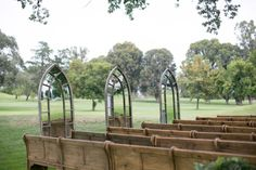 Outdoor Wedding Ceremonies Outdoor Church Pews and Mirrored Windows LVL Events Church Pew Wedding, Wedding Pews, Wedding Events, Church Pews, Wedding Ceremonies, Farm Wedding, Chic Wedding, Summer Wedding, Wood Framed Mirror