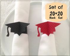 Graduation Cap , Napkin Rings , Graduation Party Decorations , Party Supplies , Paper Napkin Rings , Table Decor , Set of 20 Red + 20 Black