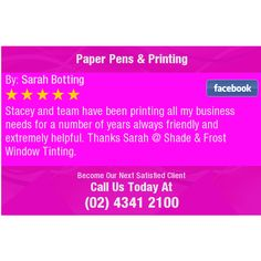 Stacey and team have been printing all my business needs for a number of years always...