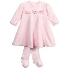 Emile et Rose Baby Girls Pink Jersey 'Fifi' Dress with Tights at Childrensalon.com