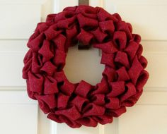 Burlap Wreath Red Wreath Wall Decor Indoor by TheBlissfulLoft, $24.99