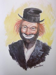 Red Skelton Clown Print  Clown Art  Vintage by WHaroldHancockArt