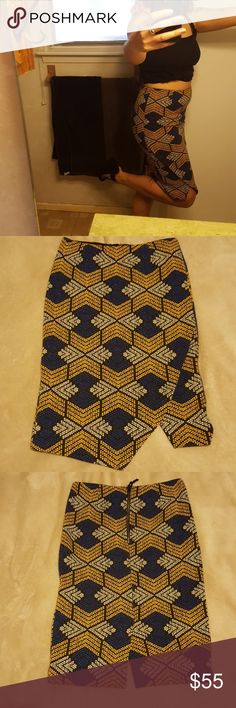 Anthropologie pencil skirt geometric print Grab a book and head to your favorite coffee shop with this skirt.   Beautiful print and tailoring. Hits at the knee. I am just about 5'6 for reference! Maeve Skirts Pencil