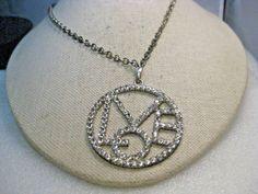 "Vintage Rhinestone Love Pendant Necklace, 21"", 2"" Pendant, 3.5mm #Unbranded #pendantonchain"