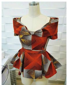 Collection of the most beautiful and stylish ankara peplum tops of 2018 every lady must have. See these latest stylish ankara peplum tops that'll make you stun African Tops, African Dresses For Women, African Print Dresses, African Attire, African Wear, African Fashion Dresses, African Women, African Prints, Ankara Fashion