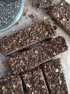 Chocolate Coconut Chia Seed Bars are so easy to make, can be prepared in minutes with no blending or baking and only require a few ingredients. Vegan, gluten-free, no refined sugar. Healthy Bars, Healthy Sweets, Healthy Baking, Healthy Snacks, Baking Snacks, Paleo Bars, Vegan Sweets, Healthy Desserts, Eating Healthy