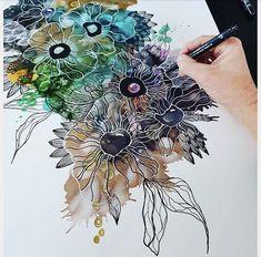 Ink Drawing Lone Zimino Shares her alcohol ink art tips Alcohol Ink Crafts, Alcohol Ink Painting, Alcohol Ink Art, Ink Doodles, Illustration, Ink Drawings, Posca, Pen Art, Acrylic Art