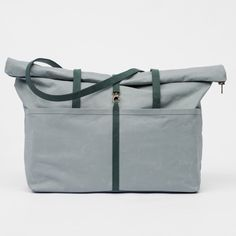 Weekender-Coated Cotton- Oyster- Leather- Malachite- bag- Rolltop- Zip Closure…