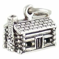 Amazon.com: 3D Log Cabin Vintage Style 925 Sterling Silver Traditional Charm or Pendant: Jewelry