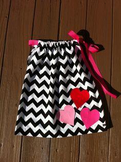 Custom boutique children's clothing. Girls black white chevron Valentine pillowcase dress. Hot pink red heart applique. By EverythingSorella. $34.50, via Etsy.