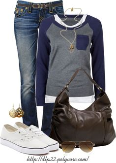 Polyvore grey & navy sweater, long white tee, jeans, long chains, brown shoulder bag, white Champions.