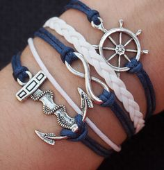 Rudder Bracelet Infinity Wish Bracelet Anchor Charm Bracelet-Navy Blue Wax Cords Imitation Leather Braided-Personalized Friendship Jewelry. $6.99, via Etsy.