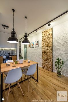 Find home projects from professionals for ideas & inspiration. Projekt mieszkania o pow. White Brick Walls, Home Decor Kitchen, Home Projects, Sweet Home, Dining Table, Decoration, House Design, Interior Design, Furniture