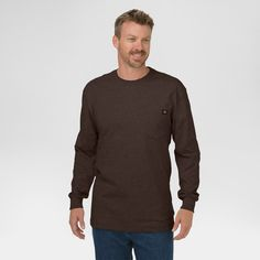 Dickies Men's Big & Tall Cotton Heavyweight Long Sleeve Pocket T-Shirt- Chocolate Brown Xxxl Tall