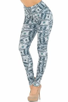 It's raining....MONEY! Our Creamy Soft Raining Money leggings are SUPER soft featuring a collage of hundred dollar bills.
