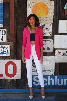 Zara Linen Blazer, H Bralette, H Mirrored Sunnies, Nasty Gal The Kink, Jeffrey Campbell Raze Light Platform