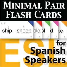 Minimal Pair Flash Cards for Spanish Speakers comes with charts, assessment logs, master cards, pair cards, and individual word cards. With this set you will have the resources to assess, test, and employ in pronunciation activities.