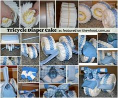 You will love these easy Tricycle Diaper Cake Instructions. It makes the perfect baby shower gift and we have lots of great versions and videos to try. Diy Diapers, Baby Shower Diapers, Baby Boy Shower, Baby Shower Parties, Shower Party, Baby Showers, Tricycle Diaper Cakes, Diaper Cake Boy, Cake Baby