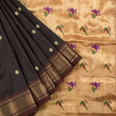 Ghanshyam Sarode Wood Bark Brown Paithani Silk Handwoven Saree with Floral…