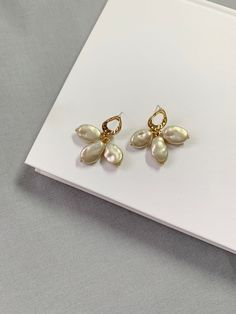 Gold with Pearl Earrings /Titanium earring post / Unique gold dangle Earrings /Minimalist, Gift for her by arassijewelry on Etsy Gifts For Your Girlfriend, Gifts For Her, Beaded Earrings, Pearl Earrings, Natural Shapes, Minimalist Earrings, Gold Pearl, Pearl Beads, Dangles
