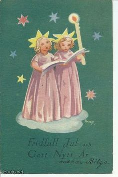 Martta Wendelin Christmas Card Images, Vintage Christmas Images, Old Christmas, Retro Christmas, Christmas Angels, Girl Face Drawing, Class Pictures, Guardian Angels, Christmas Inspiration