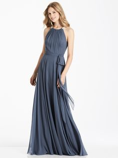 37f7d651fe Full length lux chiffon dress w  beaded trim detail at shirred halter  neckline. Matching