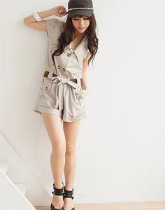 korean fashion trends 2014 beige trench romper