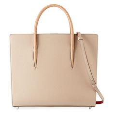 """Paloma large triple-gusset tote bag by Christian Louboutin. Christian Louboutin calfskin tote bag with spiked patent sides. Rolled top handles, 4. 5"""" drop. Removable, adjustable..."""