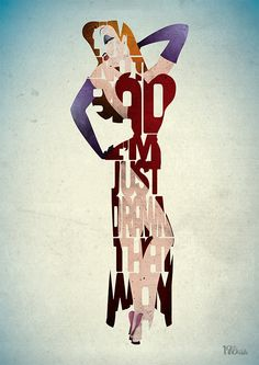 Jessica Rabbit typography art print poster based on by 17thandOak