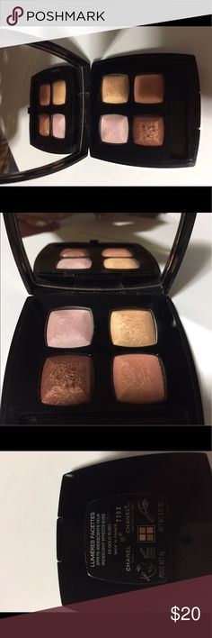 Chanel quadra eyeshadow 59 GOLD RUSH Please see description on photos.  I have too many makeup and I rarely use them so I have to sell some. Slightly used condition. No original box or pouch. Bought originally from Nordstrom. CHANEL Makeup Eyeshadow