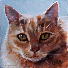 "Daily Paintworks - ""Fluffy and Orange - Cat Head"" - Original Fine Art for Sale - © J. Dunster"