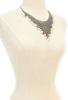 Faux Pearl Mesh Bib Necklace | Forever 21 - 1000137319