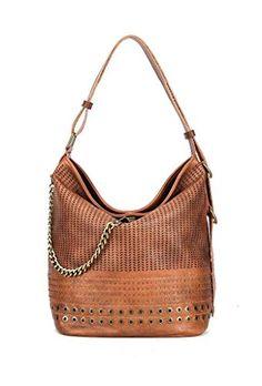 8dd11ff5f1 Angkorly - Sac à main Cabas en bandoulière Tote bag Fourre-tout perforé  tressé chaîne