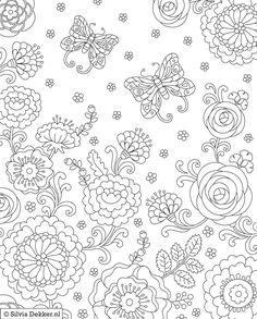 Flowers and butterflies Coloring page for Flow magazine by Silvia Dekker