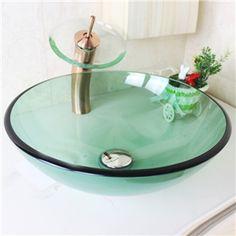Modern Waschbecken Rund Glas Aufsatz Waschschale mit Wasserfall ... | {Waschbecken rund glas 26}