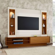 Painel para TV até 47 Polegadas Belo Vale com Led Branco Brilho Off-White e Freijo Tv Stand Modern Design, Modern Tv Unit Designs, Wall Unit Designs, Modern Tv Wall Units, Tv Stand Designs, Living Room Tv Unit Designs, Tv Wall Design, Tv Cabinet Design Modern, Modern Tv Room