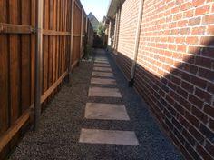 GroundScape installed a side yard path. Landscaping Company, Sidewalks, Walkways, Paths, Concrete, Backyard, Landscape, Outdoor, Catwalks