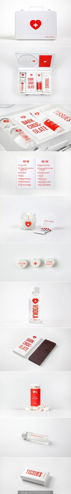 """Love Hurts, literally. Did you know that you can actually physically """"feel"""" the pain of heartbreak? It is that heavy, dull feeling in your chest after a traumatic break up or lost of a loved one. Unfortunately the only cure for that is time. But fear not - Melanie Chernock, a graduate from SVA created a first aid kit for heart breaks (I'd personally add a pint of ice cream to the kit if it wouldn't melt, but that's just me)"""