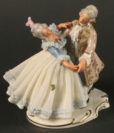dresden figurines | dresden lace dancer dresden lace figurine 18th c style dancers on ...