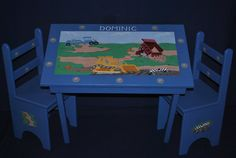 Children's Table and Chair Set  Construction Trucks hand painted by onmyown14 on Etsy