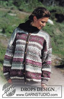 DROPS jacket with pattern borders in Karisma Free pattern by DROPS Design. Fair Isle Knitting Patterns, Jumper Knitting Pattern, Knitting Charts, Jacket Pattern, Knit Patterns, Free Knitting, Laine Drops, Norwegian Knitting, Drops Design