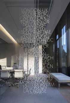 Wall of type signage. Love the jumbled messy feel of this particular signage design. Wayfinding Signage, Signage Design, Typography Design, Kiosk Design, Environmental Graphic Design, Environmental Graphics, Interior Architecture, Interior Design, Window Graphics