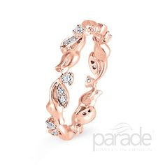 Style Number: BD1984-D:RET   Diamond Leaves and Golden Blooms Complete This Rose Gold Eternity Band