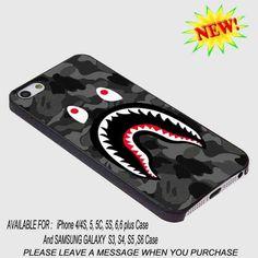 3b488ac63b3a bape shark black army pattern for iPhone Case   Samsung Galaxy Case Hard  Plastic  UnbrandedGeneric