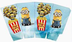 Minions on Blue Background: Free Printable Mini Kit. - Oh My Fiesta! in english Minion Birthday, Minion Party, Christmas Scenes, 1st Christmas, Free Printable Invitations, Free Printables, Party Printables, Minion Template, Minion Mask