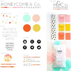 *organized brand layout (not style or colors)* Honeycomb and Company.: branding mood board.