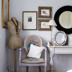 BEDROOM- mix of pics - mix of mirrors - tall lamp -embroidered pillow/chair #TallLamp